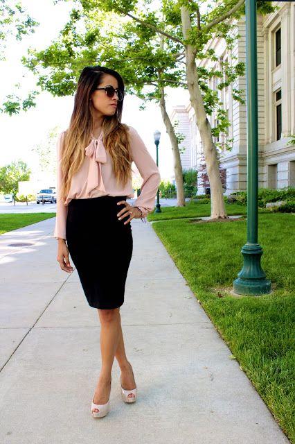 Blush bow blouse + black pencil skirt - classic me.