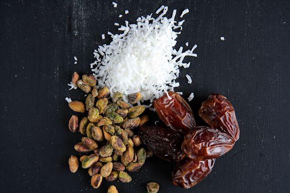 Coconut-pistachio stuffed dates.