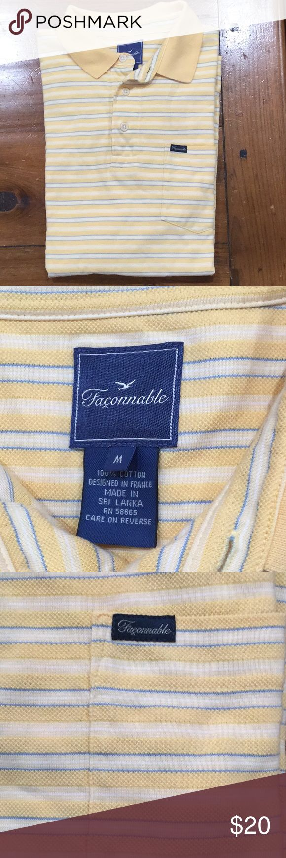 Faconnable Polo Shirt sz M Great condition - Faconnable Polo in yellow stripes. 100% cotton pique.  Short sleeves with slits on both sides. Faconnable Shirts Polos