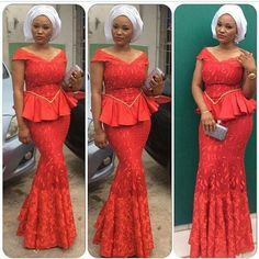Aso Ebi Styles : Red Combinations - http://www.dezangozone.com/2015/10/aso-ebi-styles-red-combinations.html DeZango Fashion Zone