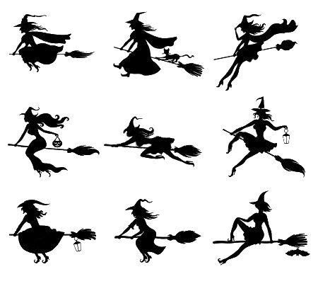 Set de siluetas de brujas volando en escoba