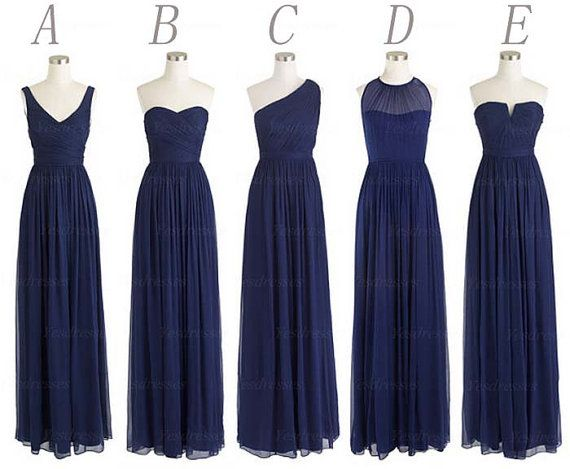 Same color different style tying the knot pinterest for Navy blue dresses for wedding