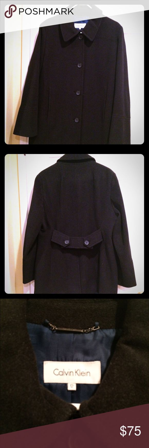 Calvin Klein Pea Coat Lightly worn black pea coat. Perfect for chilly days ❄️🌦🌨 Smoke free & pet free home. Calvin Klein Jackets & Coats Pea Coats