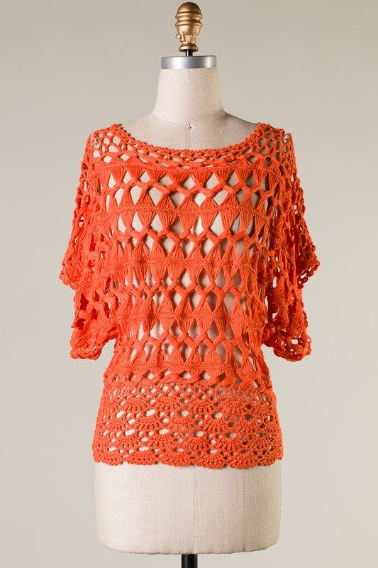 Best Knitting Vacations : Crochet lonny top in coral and knitting