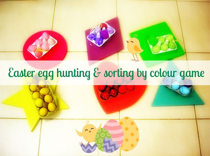 Easter egg hunting & sorting by colour game! This egg-citing game is really simple but fun! Materials needed: Easter eggs in different colours, baskets/containers or egg cartons. Separate kids into teams and allocate a colour to each team. Then hide all the eggs & have them find them & put them in the corresponding container!