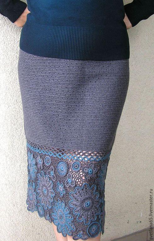 """Купить Авторская юбка вязаная теплая """"Жасмин"""" - серый, орнамент, юбка, юбка вязаная крючком"""