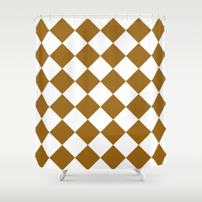 Large Diamonds - White and Golden Brown Shower Curtain