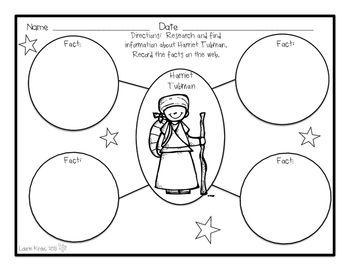Harriet Tubman Research Activity Sheets and Graphic