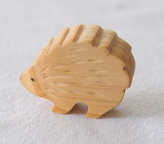 Carved Wooden HEDGEHOG Porcupine, Handmade Toy Animal, Waldorf Inspired. $7.00, via Etsy.