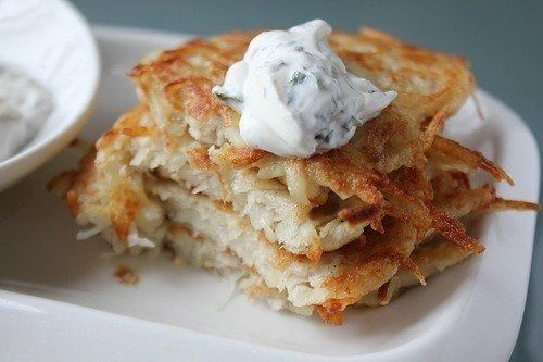Фото к рецепту: Картофельные блины с куриным фаршем