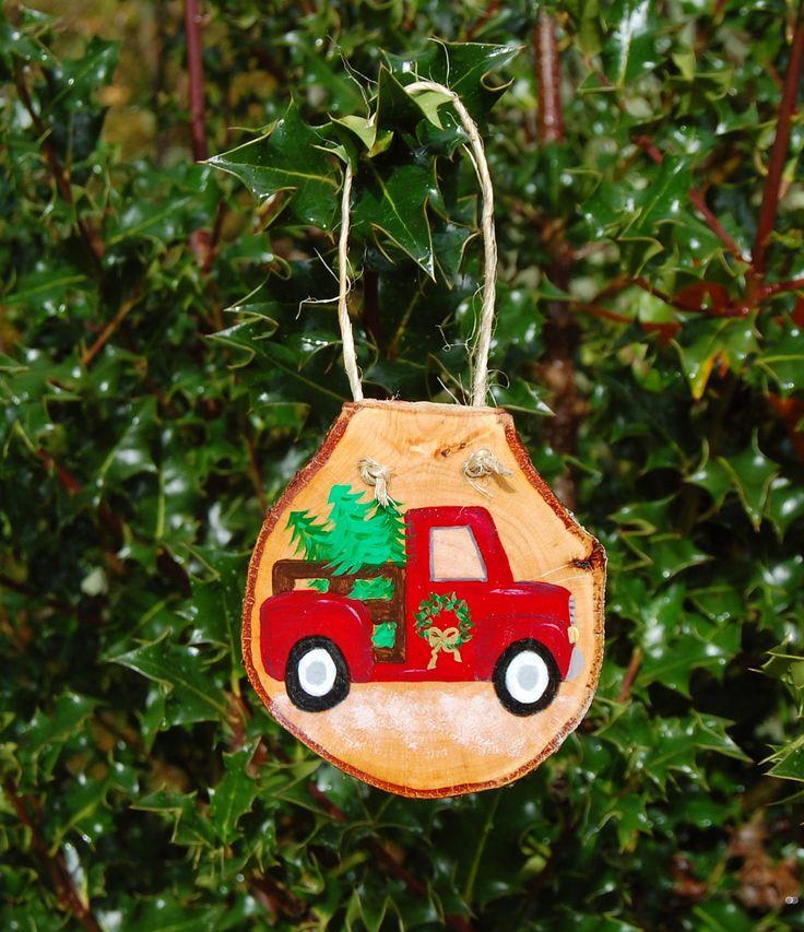 Hand-Painted Red Christmas Tree Truck Wood Slice Door Hanger, Woodland Christmas Decor, Large Farm Truck Christmas Tree Ornament by CreakingAlderFarm on Etsy