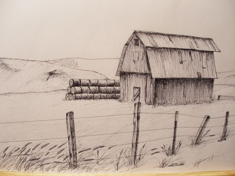 This old barn in Oregon is full of hay and has rolls stacked outside. This Pen and Ink drawings size is 81/2 inches by 11 inches. Offering a limited number of prints. Once these are sold NO MORE will