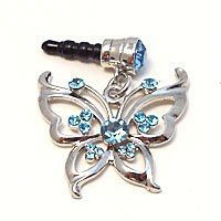 1x Rhinestone Butterfly Dust Proof Dust Plug iPhone Speaker Plug Plugy  Sky Blue ** Continue to the product at the image link.