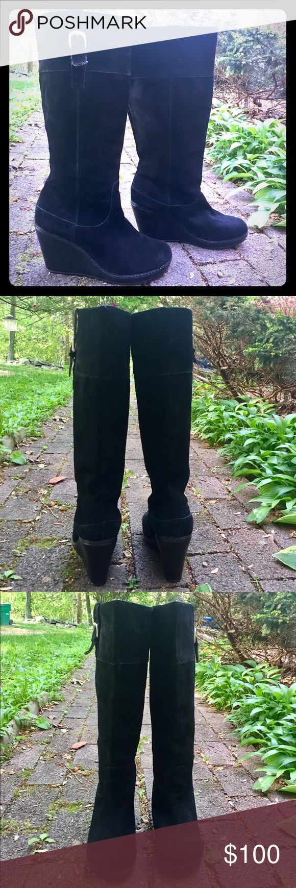 Genuine Black Suede Wedge Boots Fantastic suede wedge boots! Perfect with pants or a skirt! Knee high! Awesome condition! Shoes Heeled Boots
