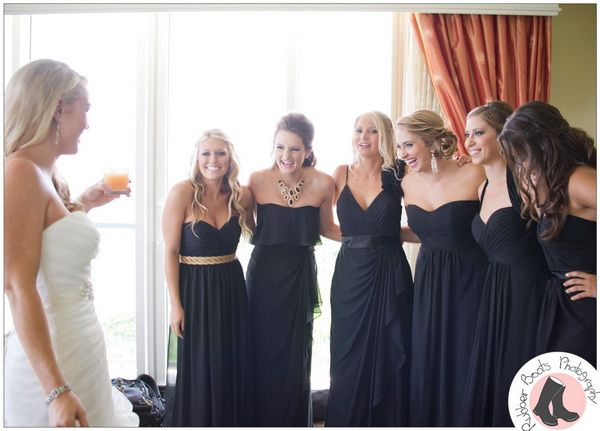 Different long black dresses for these bridesmaids l Tulle and Chantilly