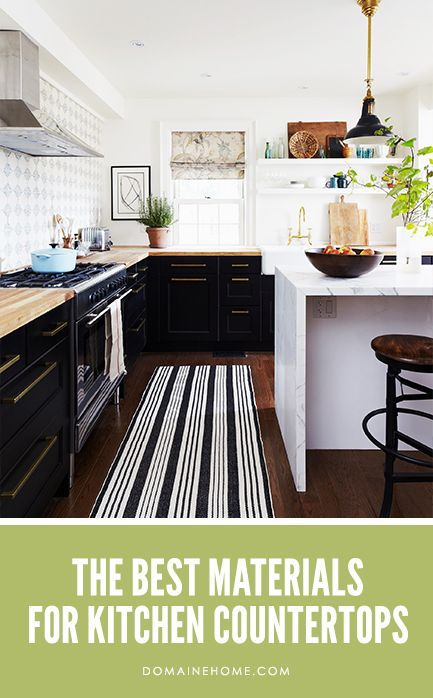 The Best Materials for Kitchen Countertops: Countertops, Black And White, Dark Cabinets, Black Cabinets, Black White, Islands, House, Butcher Blocks Counter, White Kitchens