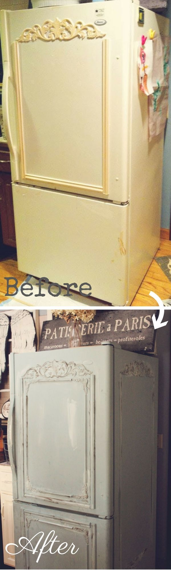 Check out how to make this easy DIY Shabby Chic Fridge Makeover @istandarddesign