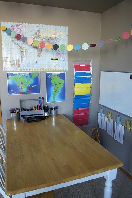 homeschool writing table by Three Peas, via Flickr: Dots Garlands, Crunchi Life, Writing Table, Handmade Dots, Crunchi Peas, Homeschool Organizations, Homeschool Area, Homeschool Classroom, Photos Shared