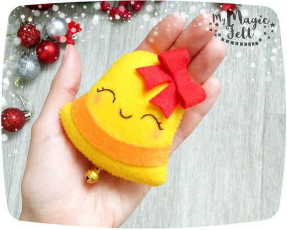 Christmas ornaments felt Christmas Bell ornament jingle Bell gift for Christmas tree decorations Christmas accents New Year decorations  This item is Made to Order (3-4 weeks for making)  Christmas decorations will create a fairy tale atmosphere in your home. This felt Christmas ornament can be used as a Christmas tree ornament, decoration for a table, stockings, doors, etc. ● Dimensions - about 3.5 inch ● Made of high-quality eco-friendly polyester felt ● Delicately filled with polyester…