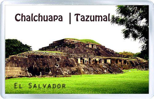 $3.29 - Acrylic Fridge Magnet: El Salvador. Chalchuapa. Tazumal. The Maya ruins