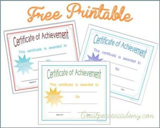 Certificate of Achievement Awards - use for end of year, finishing a portion of curriculum, etc.  Ideas for use included in post.