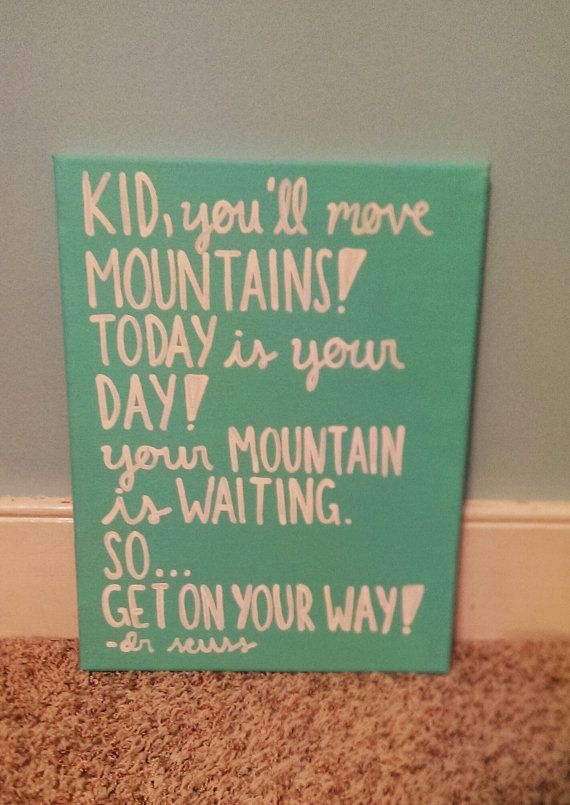 Kid You'll Move Mountains Dr.Seuss Oh the Places You'll Go Handpainted Canvas Quote Art on Etsy, $18.00
