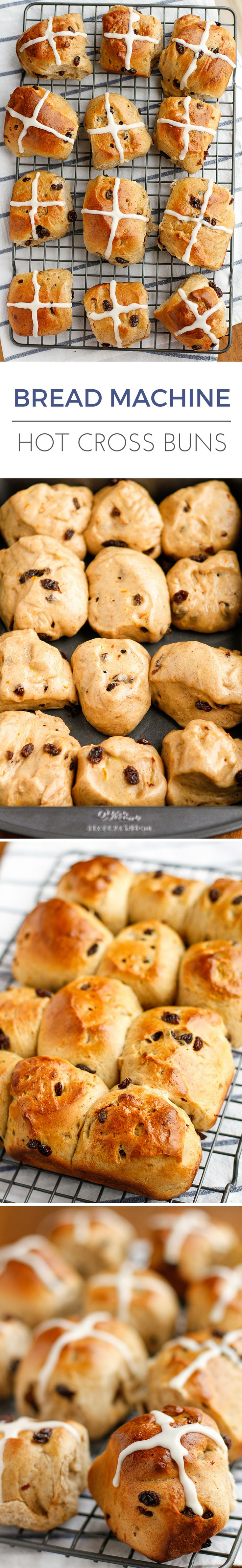 Hot Cross Buns Recipe -- Hot cross buns are an Easter tradition, but they're delicious any time, especially with this simple and easy bread machine method! | via @unsophisticook on unsophisticook.com