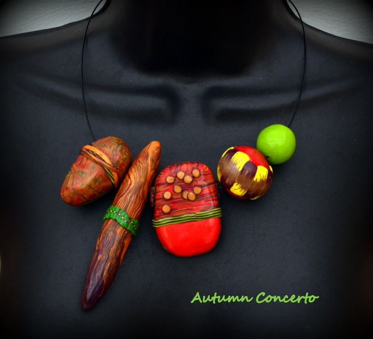 Autumn Concerto - polymer clay reversible necklace by Caprilicious jewellery