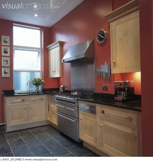 I like the floor tile color style red kitchen walls for Grey kitchen cabinets with red walls