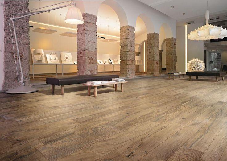 BuildDirect – Italian Porcelain Tiles - Vintage Woodgrain Series  – Sunlight - Living Room View