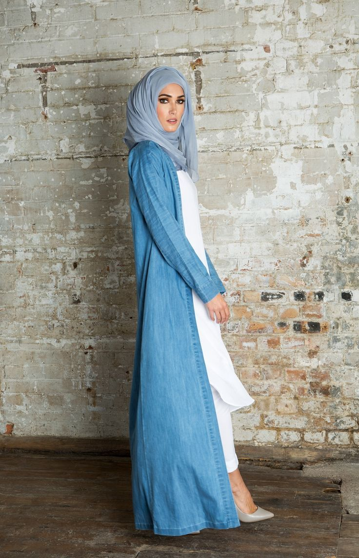 Hijab Fashion 2016/2017: Belted Denim Kimono | Aab Hijab Fashion 2016/2017: Sélection de looks tendances spécial voilées Look Descreption Belted Denim Kimono | Aab