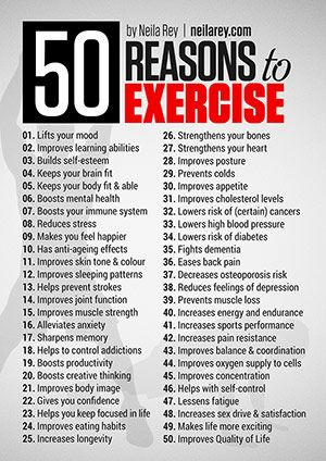 50 reasons to exercise                                                                                                                                                     More