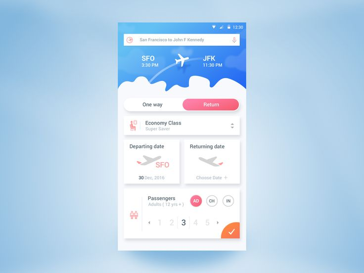 Flight booking app – User interface by Rifayet Uday