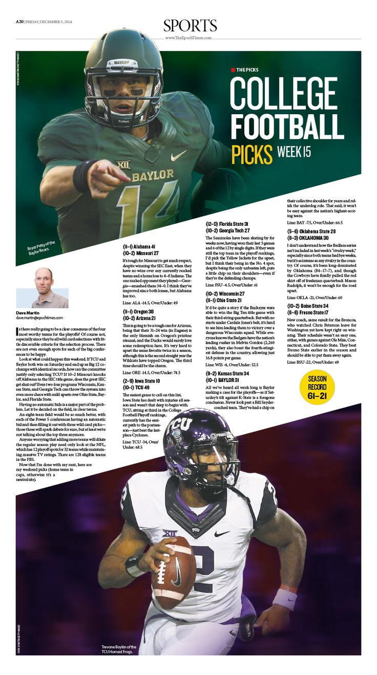 College Football Picks |Epoch Times #newspaper #editorialdesign #graphicdesign