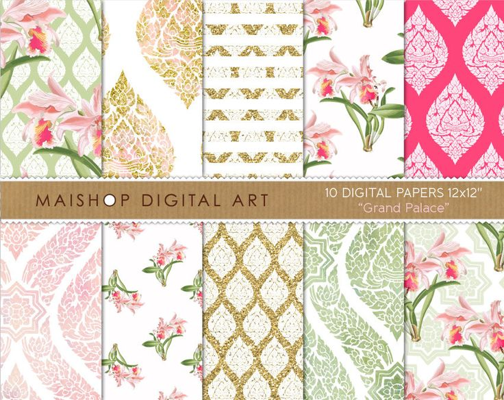 Floral Digital Paper 'Grand Palace' Scrapbook Paper Digital Download Backgrounds for Scrapbooking, Invitations, Stickers, Cards... by MaishopDigitalArt on Etsy