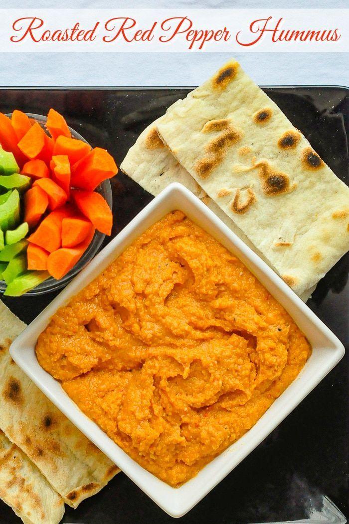 Roasted Red Pepper Hummus Recipe Yummy Snacks Yummy Healthy