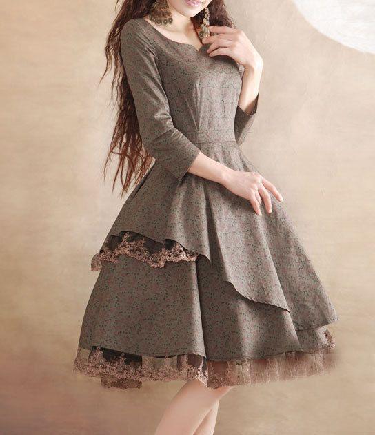 http://www.etsy.com/es/shop/happyfamilyjudy Grey lace dress Linen Cotton dress women dress por happyfamilyjudy, $92.99
