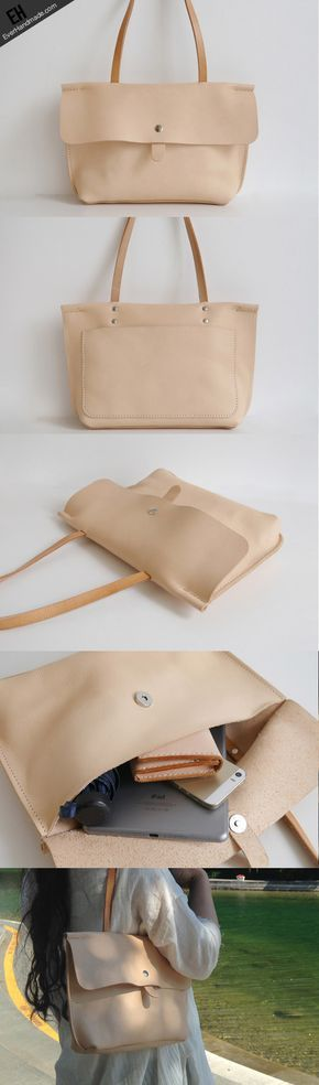 Handmade Leather handbag shoulder bag beige for women leather shoulder bag
