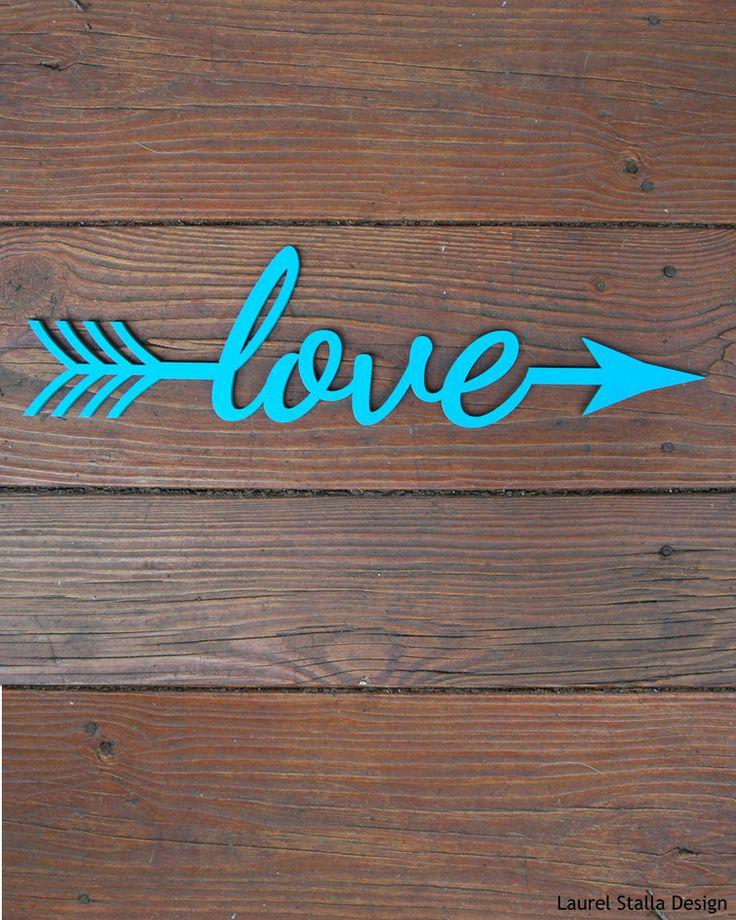 Laser cut wood Love Arrow word Sign Saying Custom Wall hanging. 14 x 3 3/4 inches.