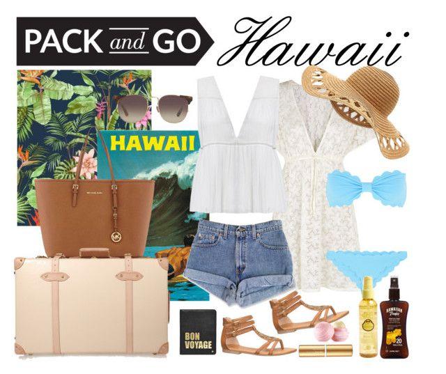 """Pack & Go: Hawaii"" by kat79 ❤ liked on Polyvore featuring moda, Accessorize, Alice + Olivia, MICHAEL Michael Kors, Hayden-Harnett, Globe-Trotter, maurices, Linda Farrow, Marysia Swim i Lipsy"
