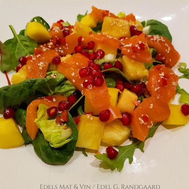 Edels Mat & Vin: Sashimisalat med laks, fersk ananas, mango og gran...