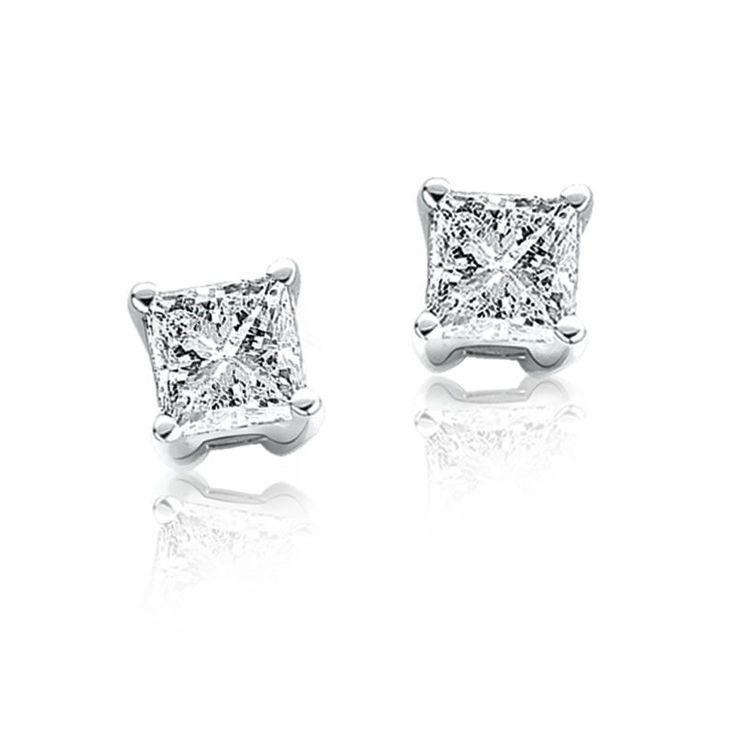 Princess-Cut Diamond Solitaire Earrings 1/3ct. T.W.