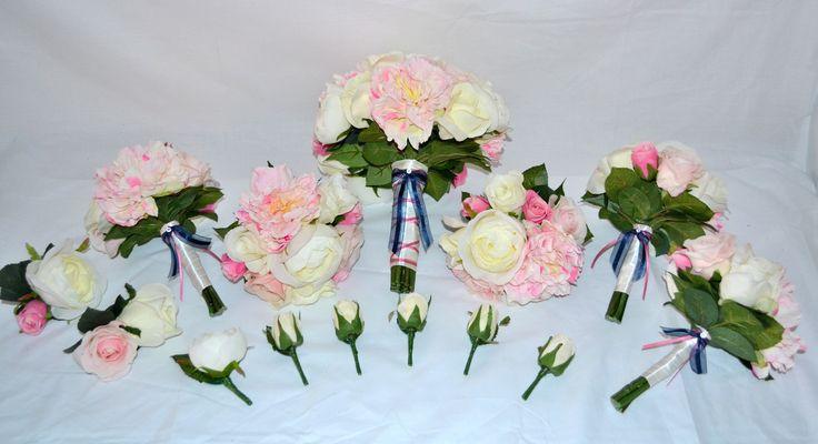 Cream and pink roses and peonies #silkpeony #peonybouquet #pinkwedding #silkflowers #justfakeitbouquets