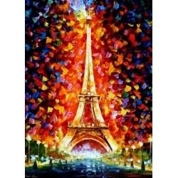 Leonid Afremov - Eifel Tower Lighted. Dit schilderij straalt warmte uit en is heel fijn om naar te kijken. Dit gevoel wil je krijgen als je op vakantie gaat! Door de verschillende kleuren in de lucht oogt de toren zelf haastig simpel en rustgevend. De lucht is mooi weergegeven, want de achtergrond is donker met heel veel verschillende kleuren, die samen het licht van de Eifeltoren voorstellen.