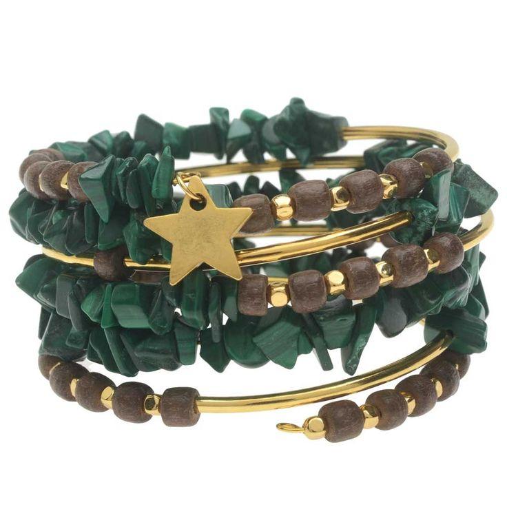 Malachite Gemstone Memory Wire Bracelet - Exclusive Beadaholique Jewelry Kit - New Exclusive Beadaholique Jewelry Kits: Your Favorite Kits in Holiday Colors - New Products - New & Trending | Beadaholique
