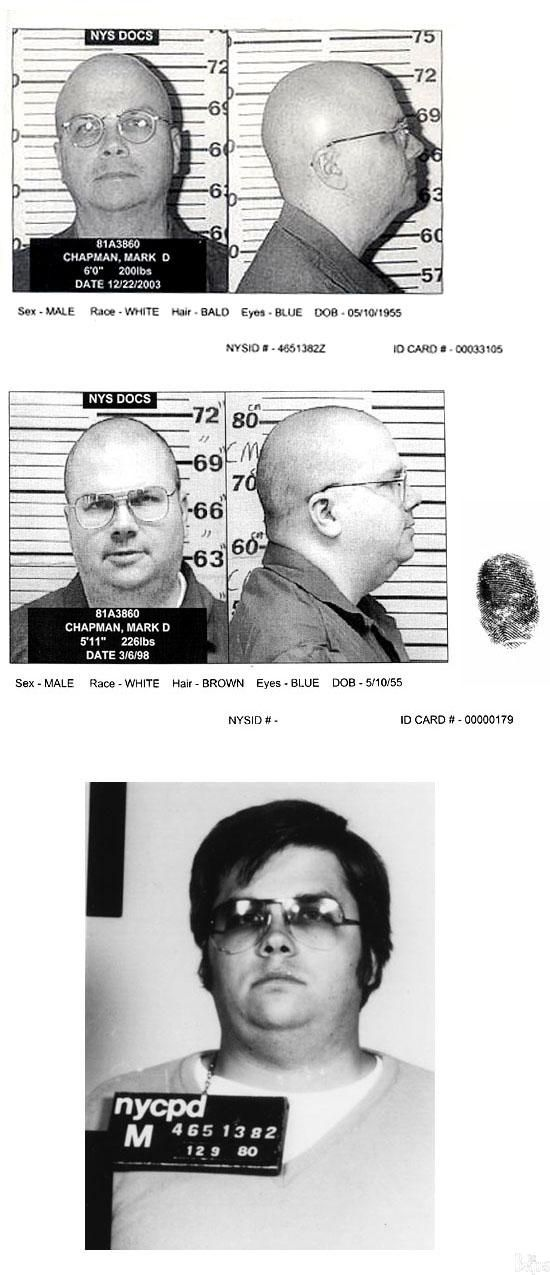 Mark David Chapman, who murdered John Lennon, posed for the above New York State Department of Correctional Services mug shots in December 2003 and in march 1998. he is also pictured in a NYPD photo taken after his arrest in December 1980. Sentenced to 20 years to life in prison, Chapman has been denied parole every two years since he became eligible for release in 2000. He is presently locked up in the Attica Correctional Facility.