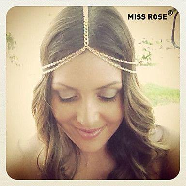 Miss+ROSE®Fashion+Double+Chain+Golden+Headband+–+USD+$+2.99