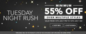 TUESDAY NIGHT RUSH: FLAT 55% OFF ON FASHION PRODUCTS From 7 pm to 7 am AT JABONG