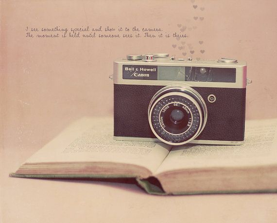 Canon Vintage Film Camera Pink Antique Book by CharlenePrecious, $28.00