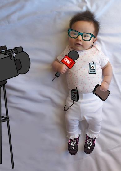 Alexa de Mayor Quiere Ser Periodista, Reportera. Fotografia & Ilustración Creativa de bebés y niños soñadores. bebé baby
